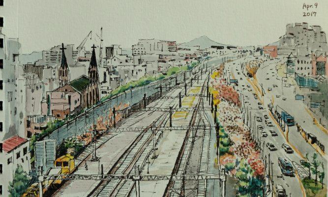 기차길변 봄 – 신촌역 01